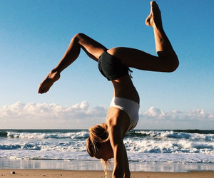 fitness, yoga, and beach image