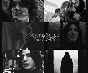 alan rickman, black and white, and harry potter image