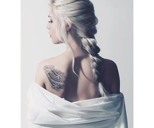 girl, tattoo, and braid image