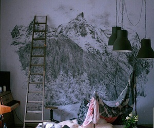 art, room, and mountains image