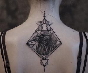 geometric, raven, and tattoo image
