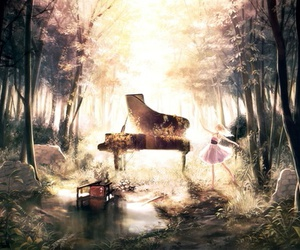 piano, anime, and forest image