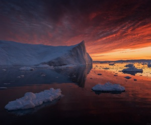 clouds, greenland, and sunset image