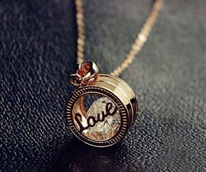 love, necklace, and gold image