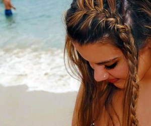 braid, brunette, and tan image