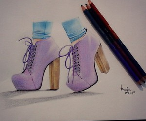 drawing, fashion, and heels image