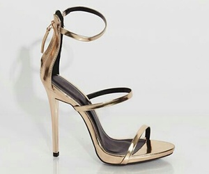 gold, high heels, and sandals image