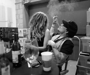 amber heard, johnny depp, and black and white image