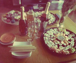 champagne, chopsticks, and cupcakes image