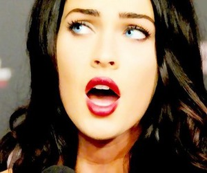 megan fox, blue eyes, and red lips image