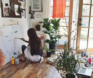 art, painting, and plants image