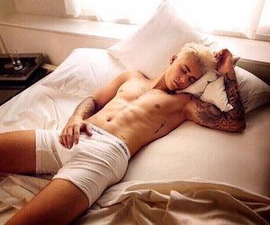 bed, shirtless, and boy image