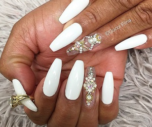 bridal, white, and nailart image