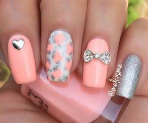 nails, nail art, and silver image