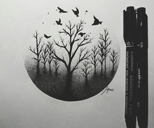 art, black, and drawing image