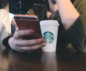 apple, coffee, and starbucks image