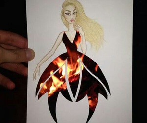 fire, art, and dress image