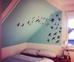 art, bedroom, and birds image