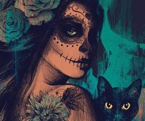 cat, art, and skull image