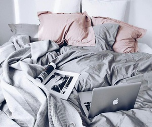 bed, grey, and apple image