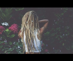 dreads, flowers, and girl image