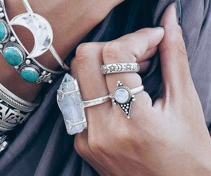 rings, boho, and hands image