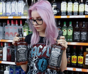 girl, alcohol, and hair image