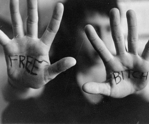 bitch, free, and black and white image