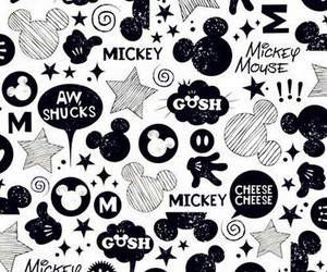 black and white, mickey mouse, and wallpaper image