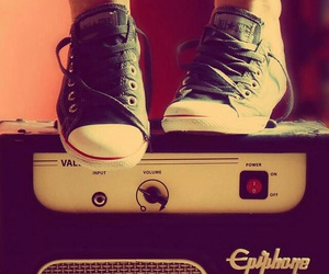 music, guitar, and shoes image