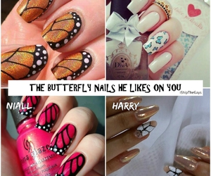 preferences, one direction, and butterfly nails image