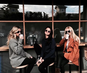 selena gomez, friends, and coffee image