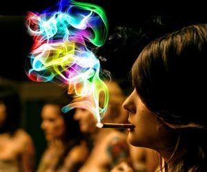 smoke, cigarette, and colors image