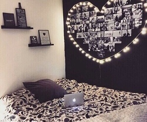 room, bedroom, and heart image