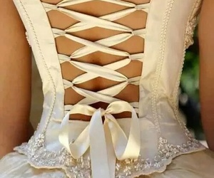 dress, wedding, and corset image