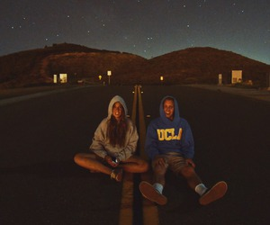 love, couple, and night image