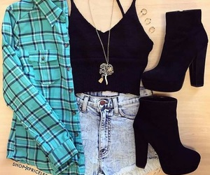fashion, flannel, and outfit image