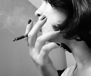 black and white, cigarret, and cigarro image
