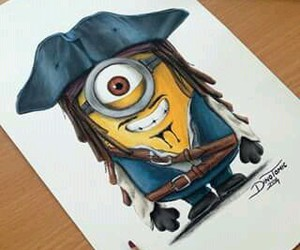 minions, art, and jack sparrow image
