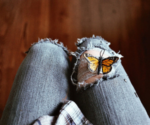 butterfly, girl, and jeans image