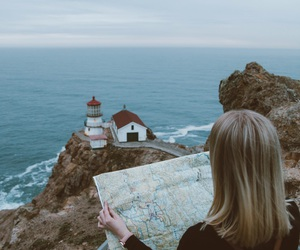 map, girl, and travel image