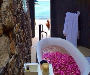 bath, beach, and flowers image