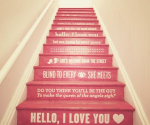 love, pink, and stairs image