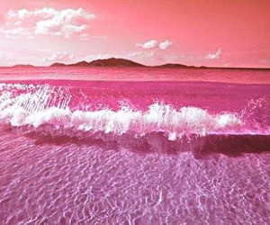 beach, wave, and pink image
