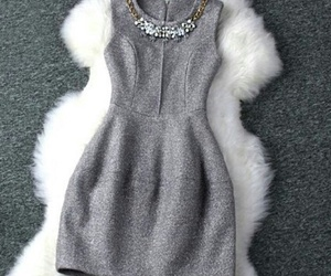 dress, grey, and outfit image