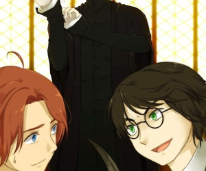 harry potter, severus snape, and ron weasley image