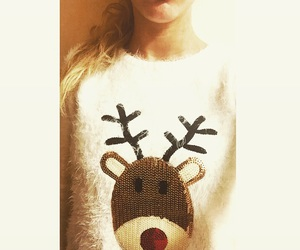 blond, sweater, and christmas image