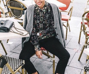 cardigan, printed shirt, and cropped jeans image