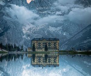mountains, lake, and italy image