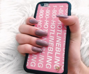 pink, nails, and case image